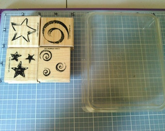 """Stampin Up! Mounted, Used, Retired """"Stars and Swirls"""""""