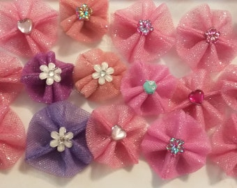 Embellished Tulle Grooming Bows - Assorted Colors