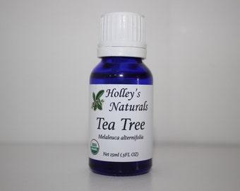Holley's Naturals Organic Tea Tree Essential Oil - Melaleuca Alternifolia