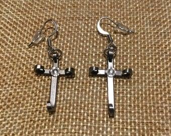 Horseshoe Nail Cross Earings