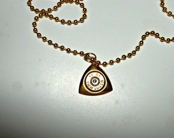 Bullet Jewelry- 9mm Bullet Triangle Drop Pendant on Ball Chain