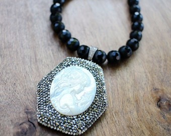 Onyx, Jade and Mother of Pearl Necklace