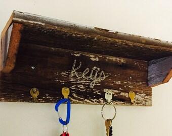 Reclaimed wood key shelf