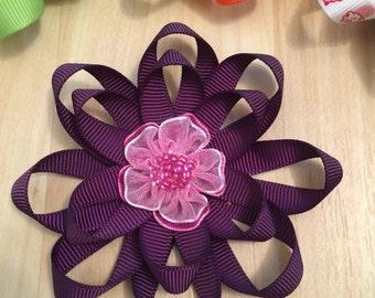 Dark Plum Flower Hair Bow