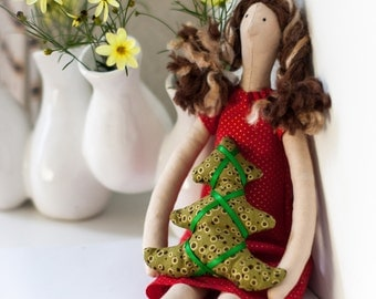 Tilda Doll - Brunette with Highlights - Christmas Doll - Red Dress - Christmas Tree