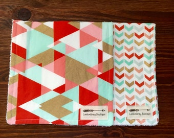 Set of 2 Burp Cloths, Geo, Chevron, Modern