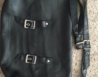 Handmade Black Leather Satchel