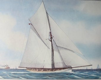 """Currier and Ives 1974 Calendar print titled The American Champion """"Yacht Puritan"""""""