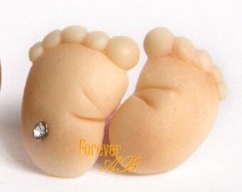 Earrings in polymer clay pin lobe feet