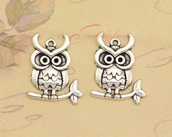 25PCS--25x20mm , Owl Charms, Antique Tibetan silver owl on branch Charms Pendants, DIY supplies,Jewelry Making JAS0045D