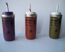 Custom Painted 24oz/Pint and Half Wide Mouth Ball Mason Jar
