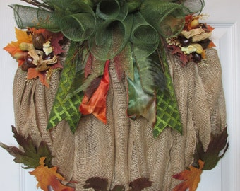 Burlap and Mesh Pumpkin Wreath