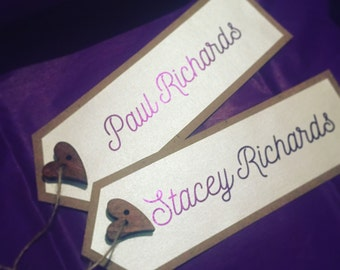Purple Luggage Tag Place Cards