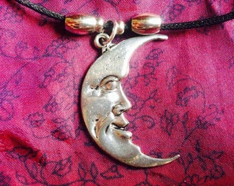 Moon Necklace on chord.