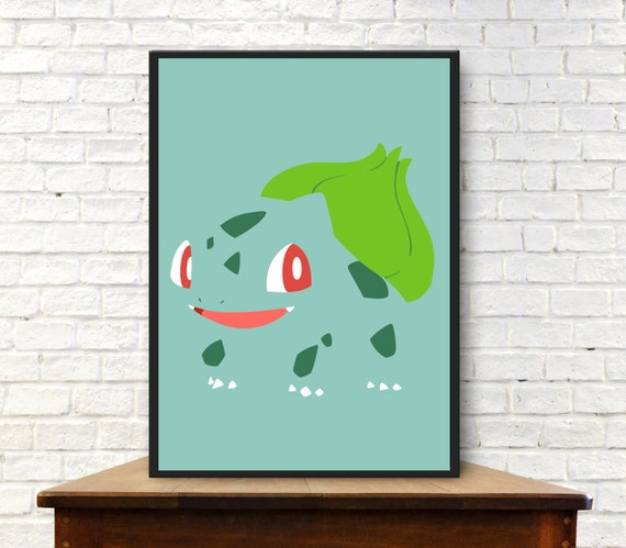 Bulbasaur minimalist poster pokemon poster pokemon go wall for Going minimalist