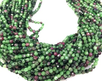 Natural Ruby Zoisite Beads Faceted 2mm 3mm 4mm AAA Quality Genuine Tiny Ruby Zoisite Beads Red Greeen Gemstone Beads Small Ruby Zoisite Bead