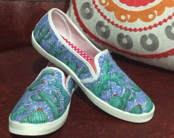 Pin dyed cactus cartoon slip on shoes