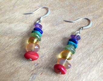 Rainbow earrings, Sterling silver earrings, Sterling silver rainbow earrings, pride earrings, pride jewelry, rainbow jewelry, boho earrings