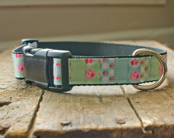 Medium to Large Dog Collar- Mint, Blue, and Pink Floral- Female Design