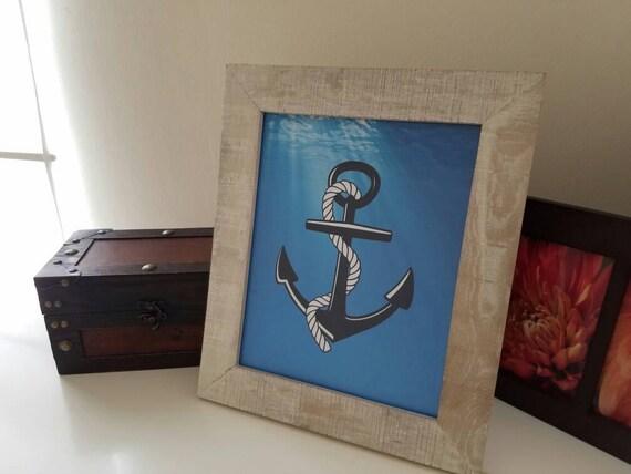 Blue Anchor Nautical Print Nautical Room Decor Beach