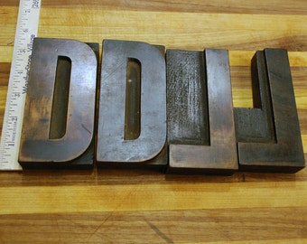 Large Wood Printers Blocks - Letters D and L - 5 inches