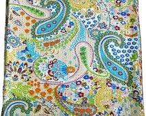 Beige Color Indian Handmade Paisley Print Kantha Bedspread Queen Size Cotton Blanket