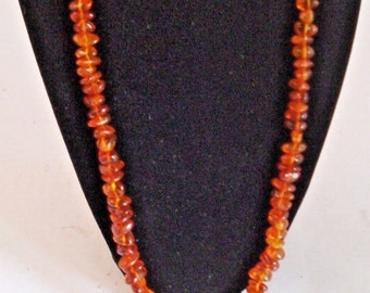 "Vintage Polish Amber Strand String Necklace 24"" with Tassell"
