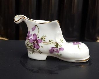 Hammersley Violets Miniature Boot, English Fine Bone China