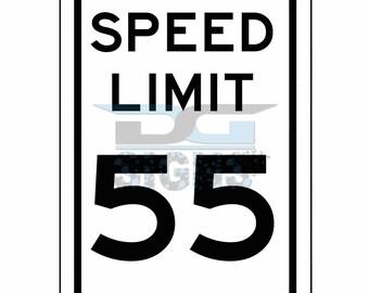 Speed Limit 55 MPH Sign - aluminum sign 8x12