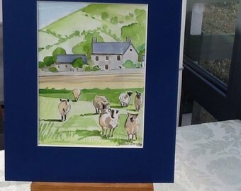 Sheep in the countryside. Watercolour painting. 15 x 20 cm.