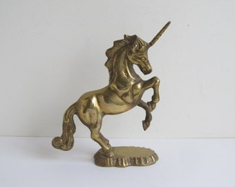 Vintage Brass unicorn figurine, mythical creature statuette, rearing horse sculpture paperweight / small indoor statue