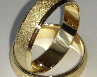 Pair ! 2 Wedding Rings, His and Hers Bands, Yellow or White 14k Gold, 4 or 5 or 6 mm Wide