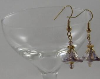 Light Purple Czech Glass Blown Flower Earrings