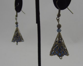 Blue Cone Flower Dangling Earrings