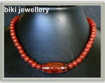 Handcrafted red Agate beads & pendant necklace #N280