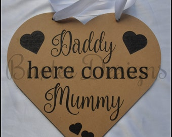 Kids, Childrens Walk down the aisle 'here comes' wedding plaques