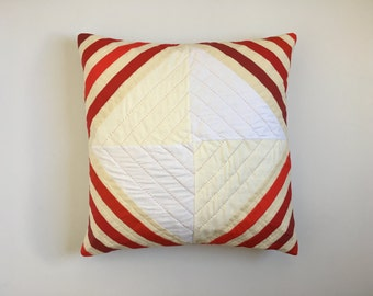 Quilted Pillow | Throw Pillow |  Modern Quilt | Striped Pillow | 20x20
