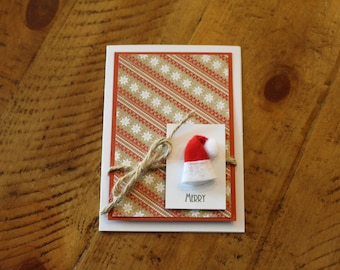 Merry Greeting Cards, Christmas Cards, Blank Inside, 4 pack