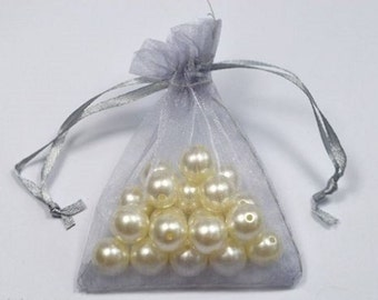 SILVER - Organza Bags 7cm x 9cm For Wedding Favours, Jewellery, Gifts