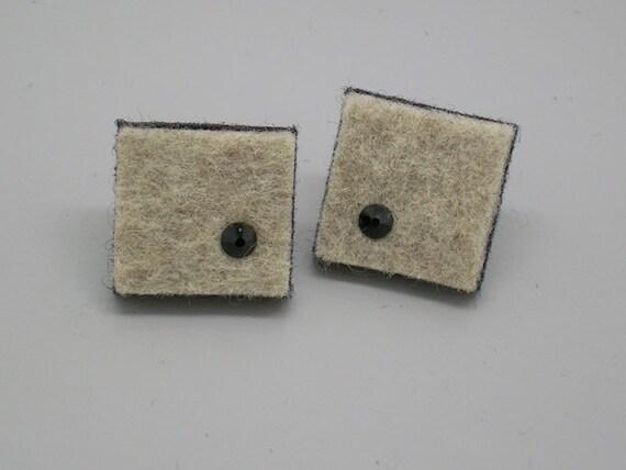 Squares of gray beige felt earrings