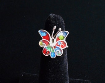 Beautiful vintage Mexican sterling silver 925 butterfly enamel ring adjustable, fully marked with vintage Taxco Mexico markings