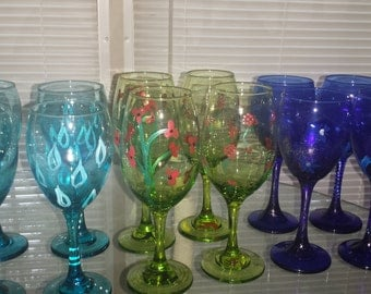 Wine Glass - Green, Teal, Blue