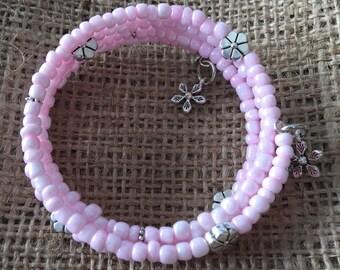 Large memory wire seed bead bracelet
