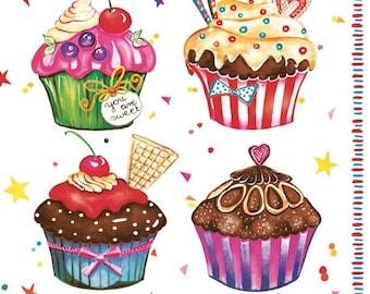 Decoupage napkins (x4) - Birthday cupcakes