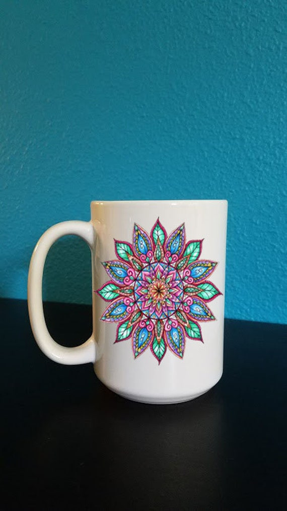 Colorful Mandala Mug, gift for her, yoga mug, namaste, peace.