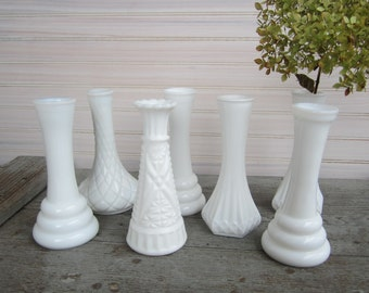 Milk Glass Vases / White Bud Vase / Vintage Vases / Wedding Centerpieces / Bridal Shower / Baby Shower / Country Wedding/ Farmhouse Decor