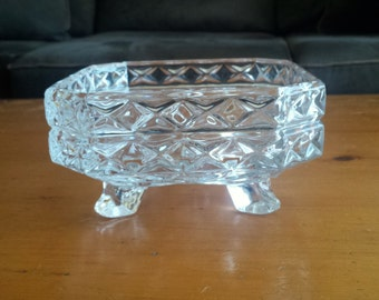 Vintage Clear Pressed Glass Square Bowl