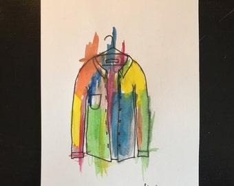 Denim jacket watercolour