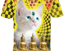Stars Universe Galaxy Space Cat Shirt T shirt Quality Psychedelic trippy Summer shirt Any Size and Any Picture Custom 2