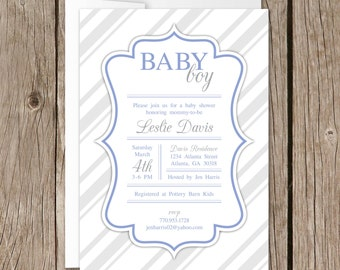 Printable Baby Shower Invitation | Evite | Instant Download | Silver Rays